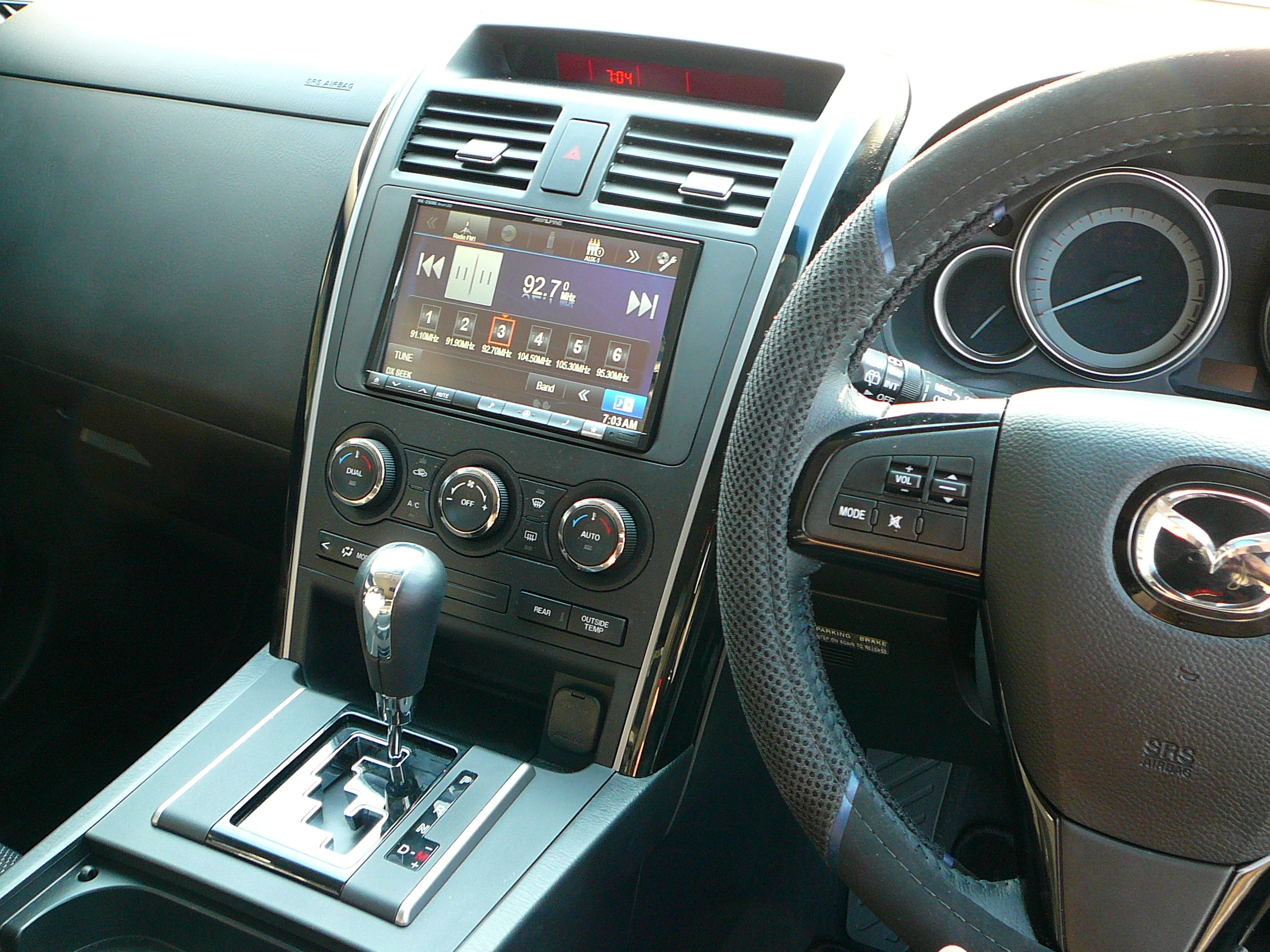 Mazda CX-9 Alpine INE-Z928E 8 inch GPS Navigation System and Alpine DVD Roof mounted screen