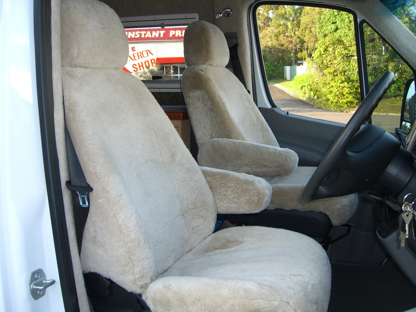 Mercedes Benz Sprinter Motorhome Sheepskin Seat Covers Maroochy Car Sound